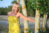 Beautiful girl in a yellow sundress around tree trunks — Stok fotoğraf