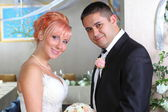 Portrait of lovely young married couple — Stock Photo