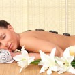 Beautiful relaxing woman with stones on her back in a Spa — Stock Photo #40598237
