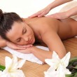 Stock Photo: Beautiful womgetting massage in salon