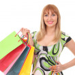 Woman with shopping bags over white — Stock Photo #40603787