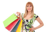 Woman with shopping bags over white — Stock Photo