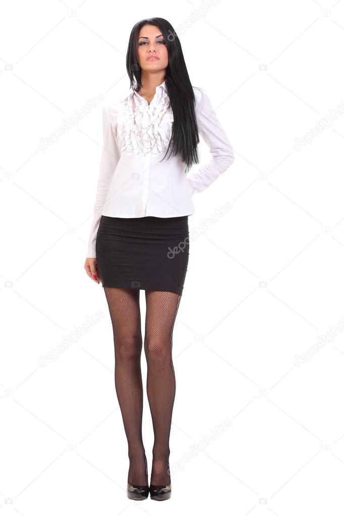 Giovane Donna In Una Camicia Bianca E Gonna Nera Foto