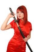 женщина с самурайский меч на белом фоне — Стоковое фото