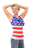 Image of blonde woman wearing American Flag t-shirt — Stock Photo