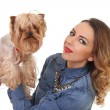 Woman with Yorkshire Terrier — Stock Photo