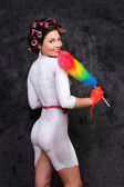 Portrait of a girl with bodypainting style PinUp — Stock Photo