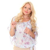 Pretty young blonde in a light summer blouse — Stock Photo