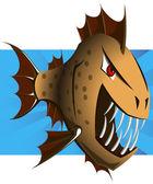 Cartoon Piranha - Vector — Vetor de Stock