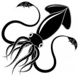 Stock Vector: Black squid