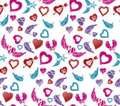 Wings and hearts pattern — Stock Vector