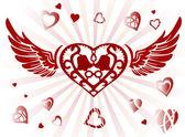 Vingar och hjärta — Stockvektor