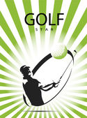 Green golf icons silhouette — Stock Vector