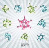 Molecule icons set — Stok Vektör