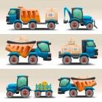 Постер, плакат: Set of trucks and tractors for transportation