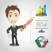 Presentation businessman vector — Stock vektor