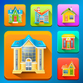 Colorful Building icons — Stock vektor