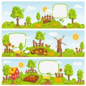 Сельские пейзажи — Cтоковый вектор