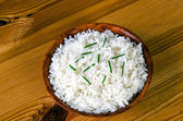 Rice with chives — Stok fotoğraf