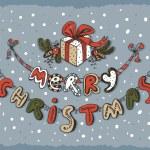 Merry Christmas card blue — Stock Vector