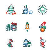Christmas insolate icon set — Stock Vector