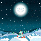 New year landscape with snowman and moon — Vector de stock