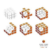 Icons Cubes Sets — Stock Vector