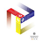 Modern Cube Infographic Design Template — ストックベクタ
