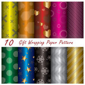 10 Gift Wrapping Paper Pattern Design Template — Stock Vector