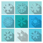 Vector Snowflakes Icons Set Design — Stock Vector
