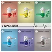 Health And Medical Capsule Set — Stock Vector