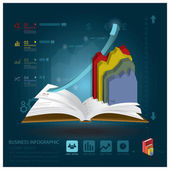 Business Infographic With Open Book Learning Style — Stock Vector