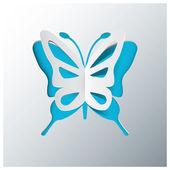 Butterfly gratulationskort med origami papper stil vektor — Stockvektor