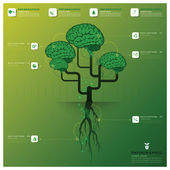 Brain Tree And Root Infographic Design Template — Vecteur