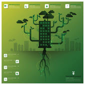 Pollution Tree And Root Infographic Design Template — Stok Vektör