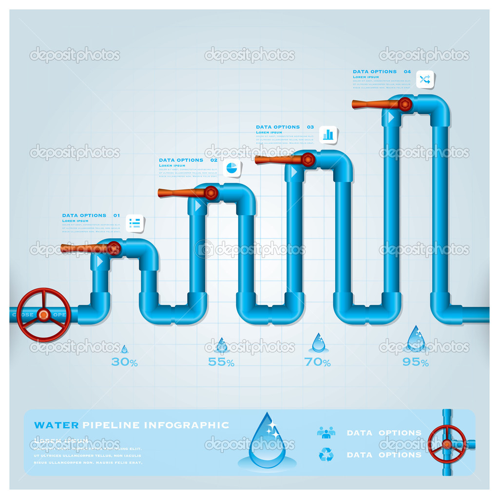 Water Design Vector Water Pipeline Business Infographic Design Template Vector by Tumponkrit