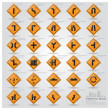 Road And Street Warning Traffic Sign Icons Set — Stok Vektör