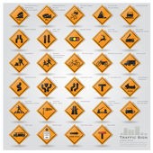 Road And Street Warning Traffic Sign Icons Set — Vecteur