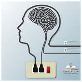 Head And Brain Shape Electricline Education Infographic Backgrou — Stock Vector