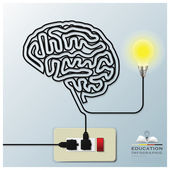 Brain Shape Electricline Education Infographic Background — Stock Vector