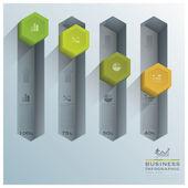Modern Hexagon Diagram Business Infographic — Stock Vector