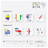 Road To Brazil 2014 Football Tournament Sport Infographic — Wektor stockowy
