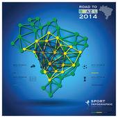 Road To Brazil 2014 Football Tournament Sport Geometric Infograp — Stock vektor