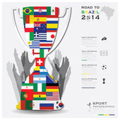 Road To Brazil 2014 Football Tournament Sport Infographic — Stock Vector