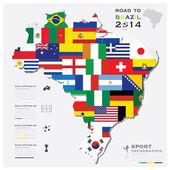 Road To Brazil 2014 Football Tournament Sport Infographic — Vector de stock