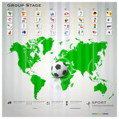 Road To Brazil 2014 Football Tournament Sport Infographic Backgr — Vector de stock