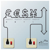Money CurrencyElectric Line Business Infographic — Stock Vector