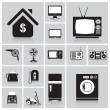 Electric Machine And House Icon Set — Stock Vector