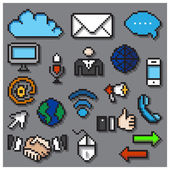 Digital Pixel Communication Icons Set — Stock Vector