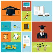 Education And Graduation Flat Icon Set — Stockvektor